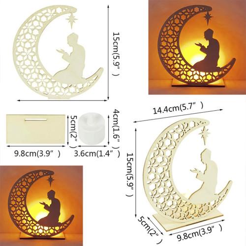 Ramadan special 1pc Hollow Moon Wooden Art Decoration