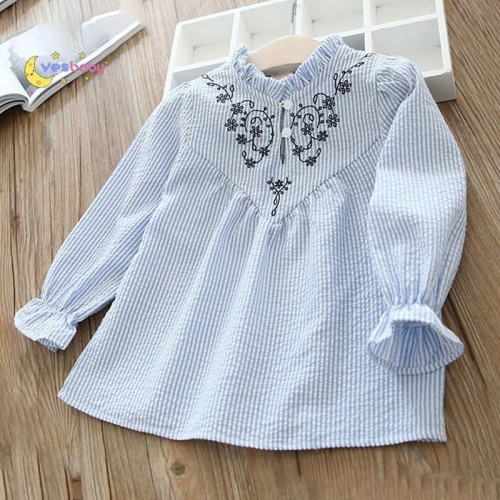 Girls Long Sleeve Flower Embroidery Blouse