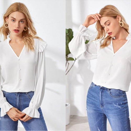 SHEIN Ruffle Trim Notched Neck Buttoned Front Top