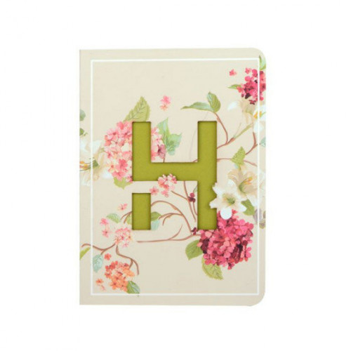 Letter H Initial Floral Monogram Notebook