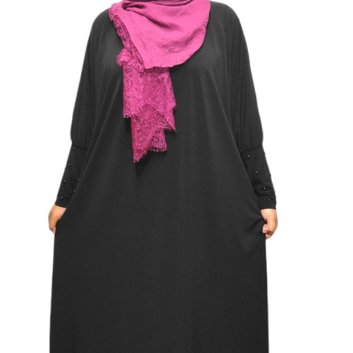 Batwing Abaya Black with Beads on sleeves