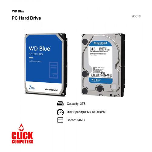 WD Blue Desktop Hard Disk Drive (3TB 5400 RPM SATA 6Gb/s 64MBCache 3 .5)