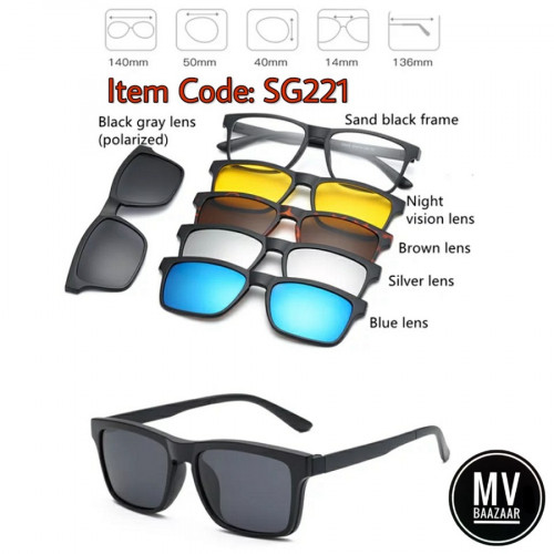 Magnet Sunglass with 5 magnetic Clip Mirrored Sunglasses eye glass Polarized Frame Spectacles