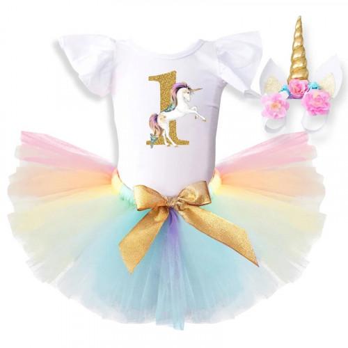 New Girl Unicorn Birthday TuTu Dress for one year old Girl + Unicorn Headband