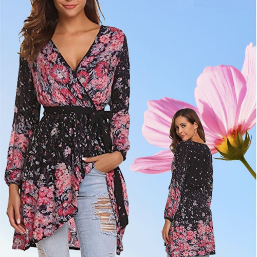 Women's Deep V-neck Top Floral Print