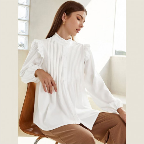 Frill Neck Pleated Button Up Blouse
