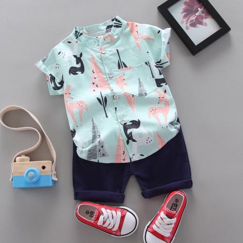 Boys cartoon pattern shirt & pants two piece set