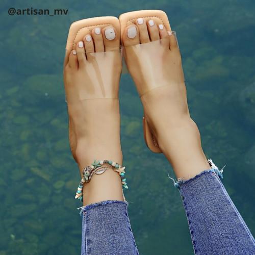 EMERY ROSE Clear Slide Sandals