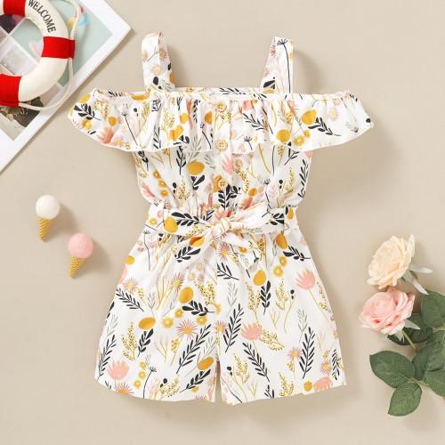 Baby Girl Romper Sleeveless Off-the-shoulder Dress
