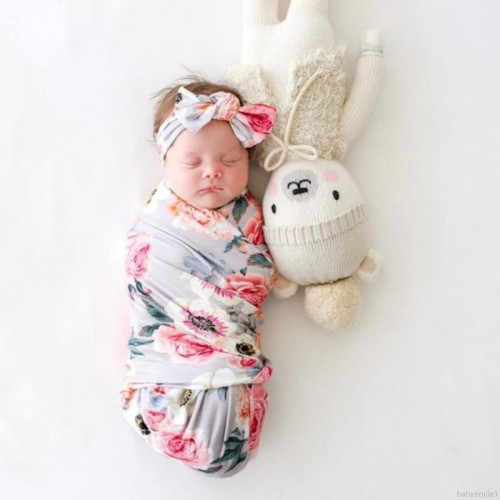 Newborn Swaddle Wrap And Headband Set