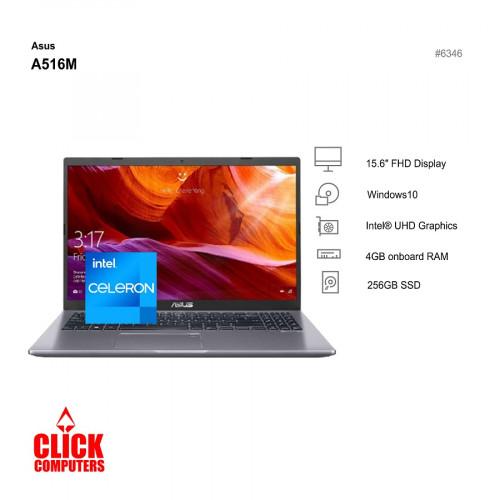 Asus A516M-AEJ146T 15.6'' FHD Lapto p Slate Grey (Celeron N4020, 4GB, 2 56GB SSD, Intel, W10)