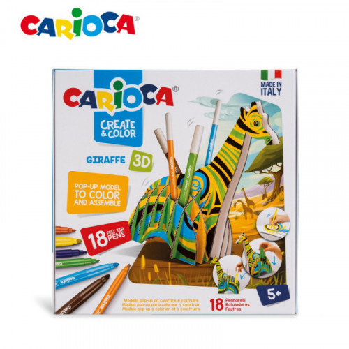 Carioca Create and Color  3D Giraffe Pop up  with Marker- 42901