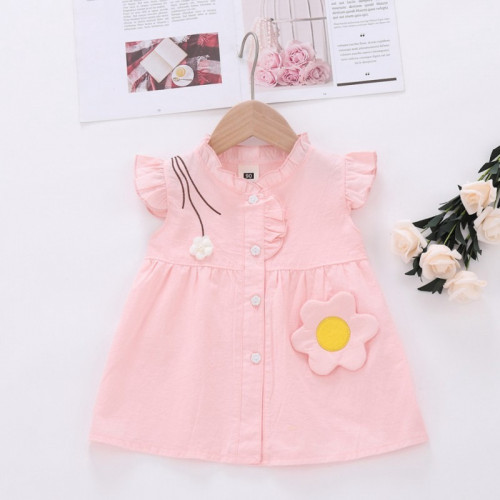 Girl Baby Wild Solid Color Flower Dress Princess Dress