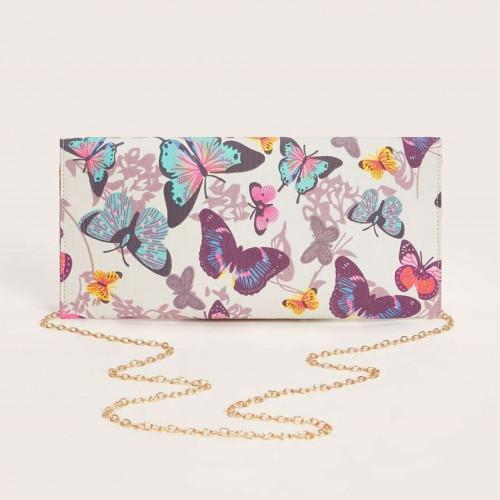 Butterfly Print Clutch Bag