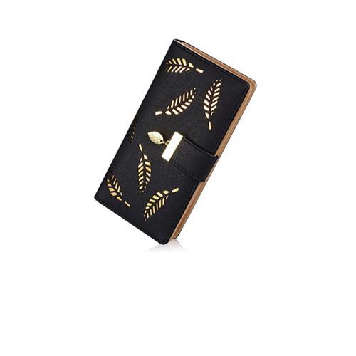 Women's Long Leaf Bifold Wallet Black