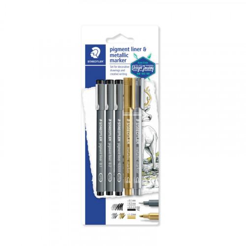 Staedtler Pigment Liner & Metallic Marker Set
