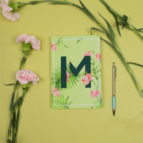 Letter M Initial Floral Monogram Notebook