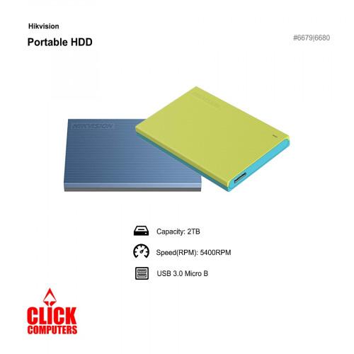 Hikvision Light USB 3.0 2TB External Hard Disk Green/Blue T30
