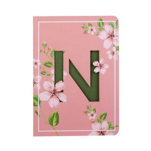Letter N Initial Floral Monogram Notebook