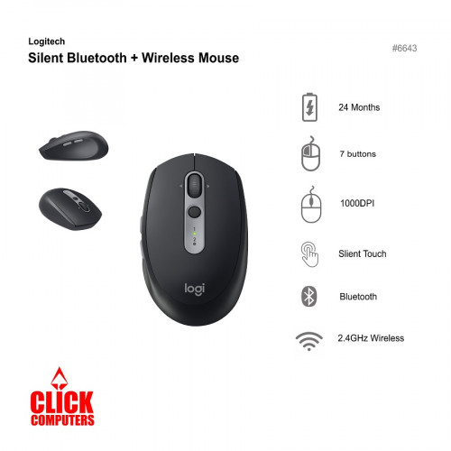 Logitech M590 Silent Bluetooth + Wireless Mouse