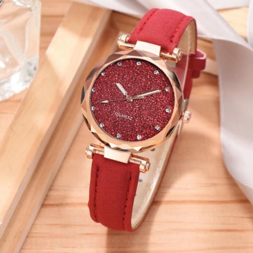 Quartz Women Rhinestone Romantic Starry Sky Wrist Watch