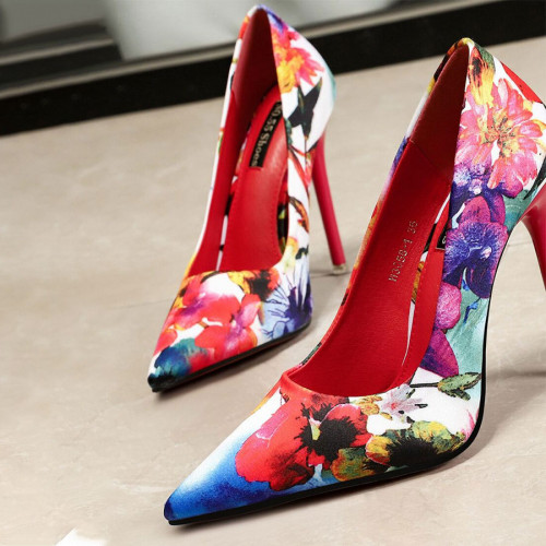 Floral Graphic Point Toe Court shoes