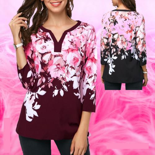 Women's Fashion Three Quarter Sleeve V-neck Floral Print Top Blouse