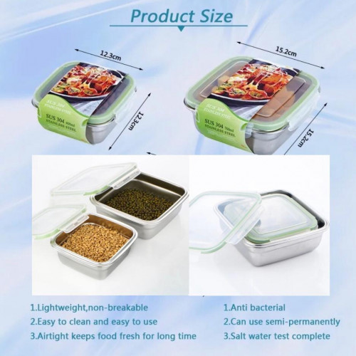 2 Pieces Stainless Steel Food Containers