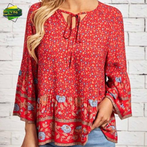 Floral Print Tie Neck Flounce Sleeve Blouse