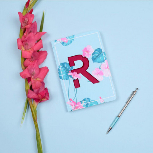 Letter R Initial Floral Monogram Notebook