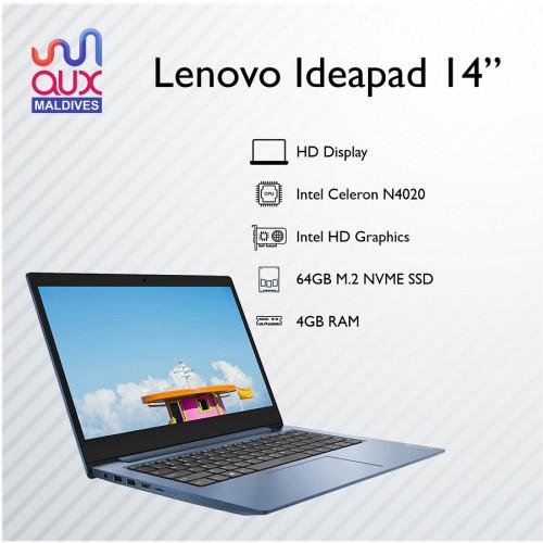 "Lenovo IdeaPad 14"" Laptop, Intel Celeron N4020 Processor, 4GB RAM, 64 GB SSD, Intel HD Graphics, Win 10"