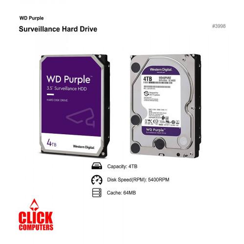 Western Digital Purple Surveil lance Internal Hard Drive - (4TB/5400RPM SATA/64MB)
