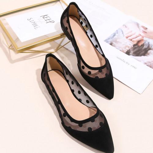 Contrast Mesh Ballet Flat shoes