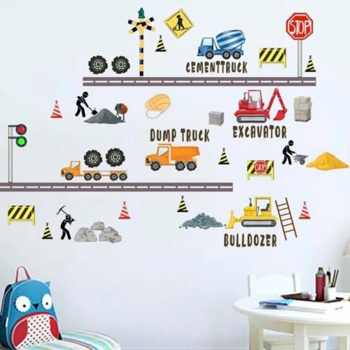 Kids Engineering Vehicle Print Wall Sticker