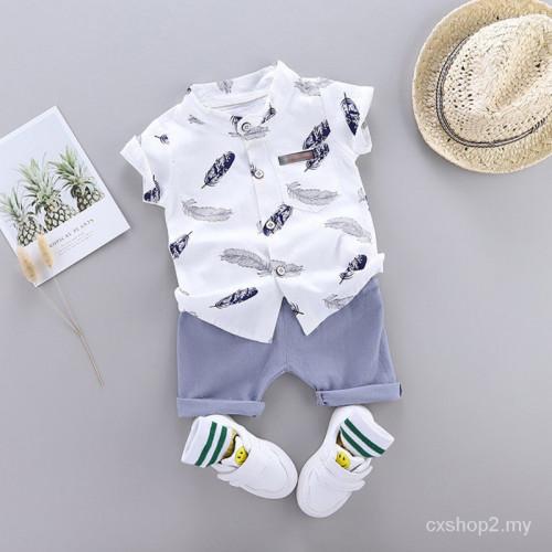 Boy Casual Short Sleeve Floral Print 2pcs set