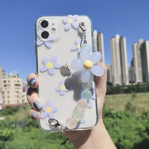 Flower Pattern Phone Case With Flower Decor Beaded Hand Strap