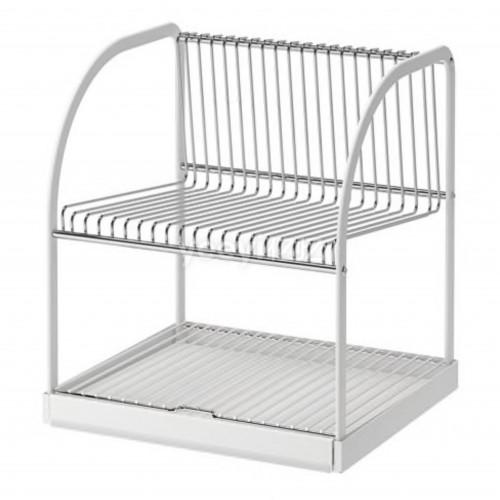 BESTÅENDE Dish drainer, silver-colour, white,