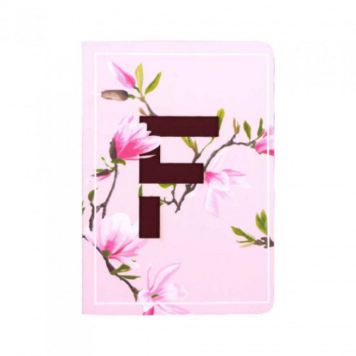 Letter F Initial Floral Monogram Notebook