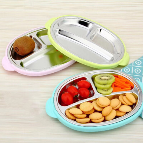 Kids Stainless Steel Dinnerware with 3 Compartments and Spoon - Blue Color