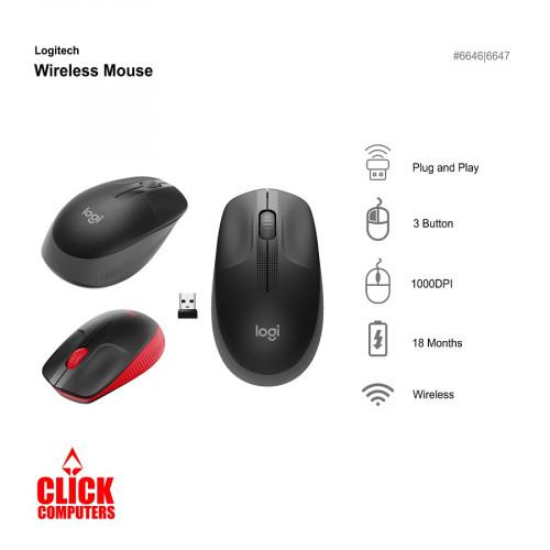 Logitech M190 Wireless Mouse (Black/Red)
