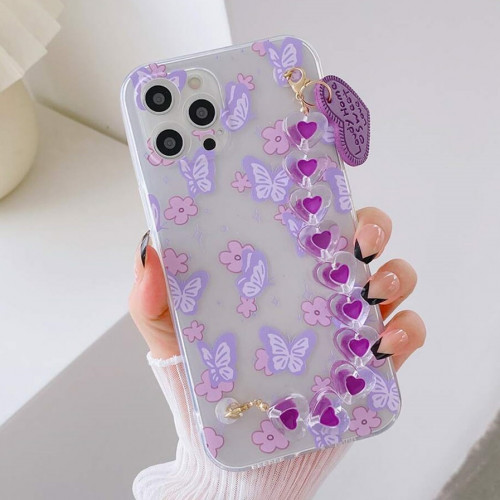 Butterfly Pattern Phone Case With Heart Decor Hand Strap