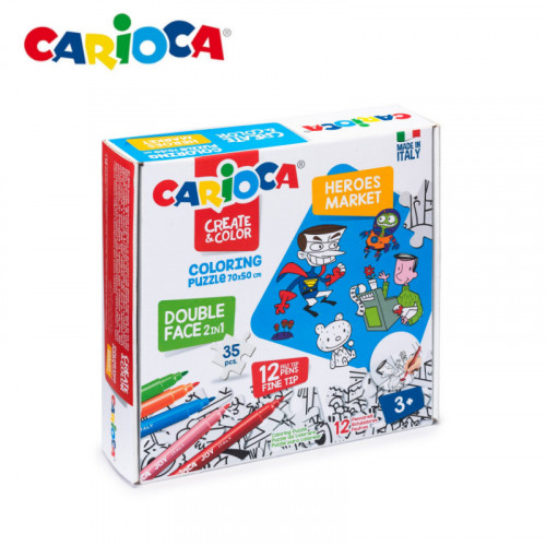 Carioca Coloring Puzzle Heroes and Market 35pc set