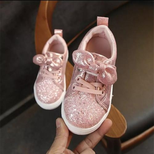 Baby Girls Casual Trend Sequin Crib Bow Shoe Diamond