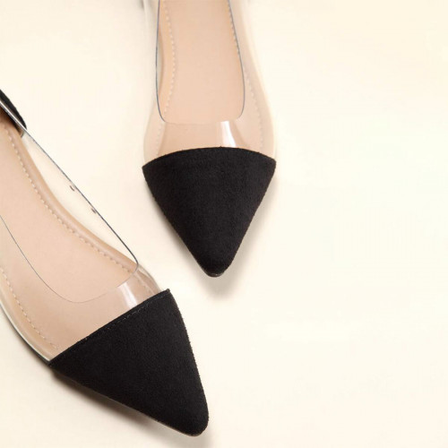 Clear Panel Point Toe Flat shoes