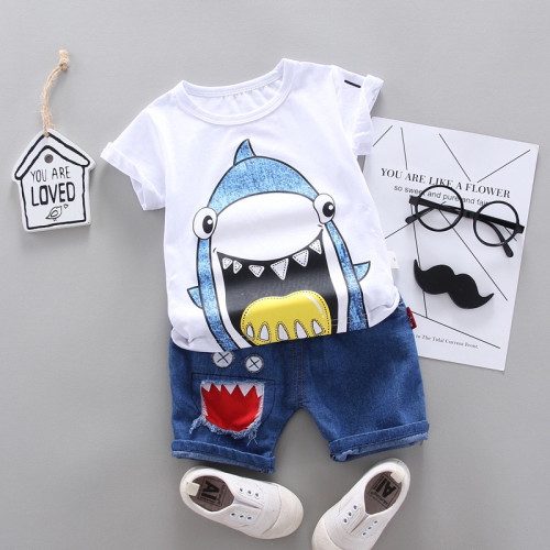 Boys Shark Printed Short-sleeved Two-piece Set