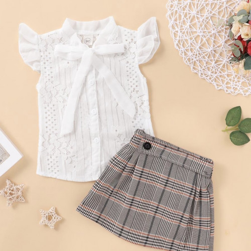 Baby Girl Summer Clothes Lace Bowknot Short Sleeve Tops+Tutu Plaids Skirt Outfit 2pcs Set