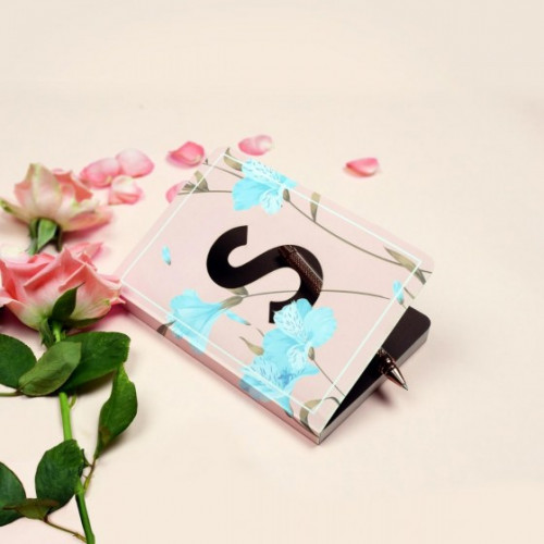 Letter S Initial Floral Monogram Notebook