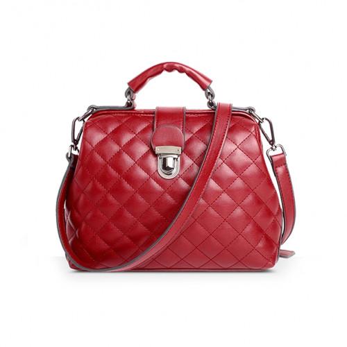 Wine red diamond lattice leather handbag