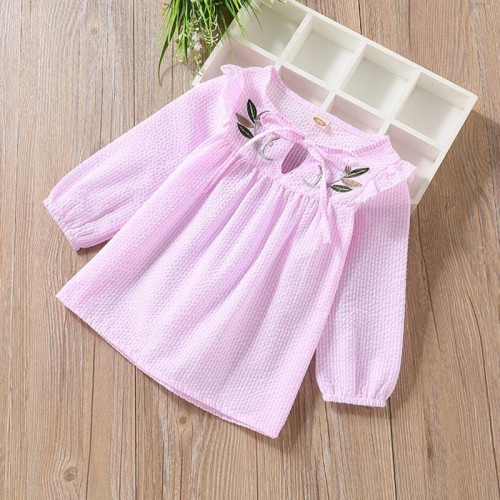 Girls Long Sleeve Embroidery Floral Tops Blouse