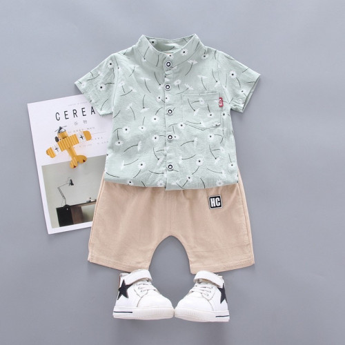 Boys Shirt And Short Pants With Stand Collar
